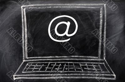 Internet symbol on a portable computer