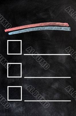Blank form on a blackboard background