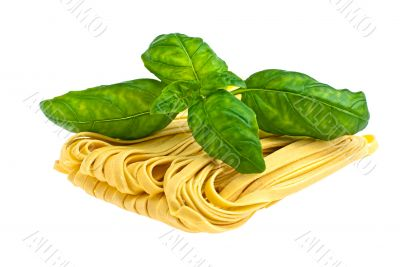 Pasta with basil.