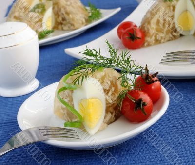 A piece of jellied chicken and egg