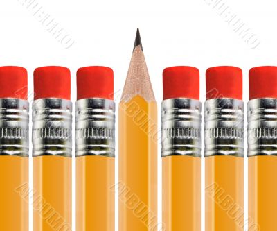 Sharpened pencil out of Row