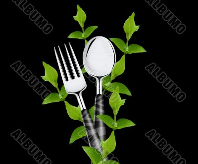 green leaves around fork and spoon