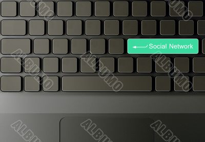 Keyboard with Green social network button