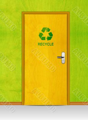 wooden door with recycle sign