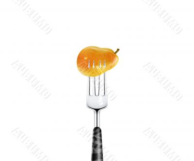 Pear pierced by fork,  isolated on white background