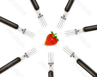 one strawberry between set of forks
