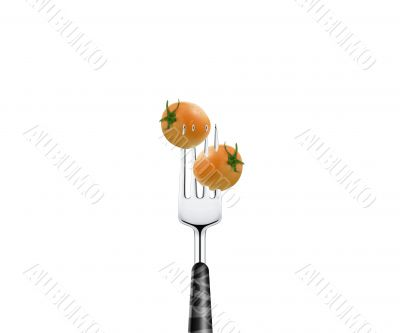 Tomato pierced by fork,  isolated on white background