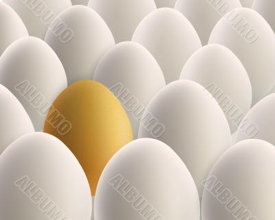 unique golden egg between white eggs