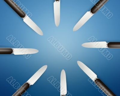 Empty copy space circle in set of knives