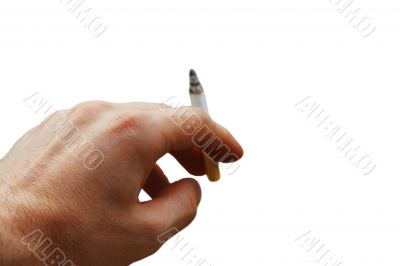 Mans hand hold a cigarette with a ash