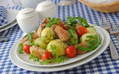 Baked potatoes with chicken and tomato