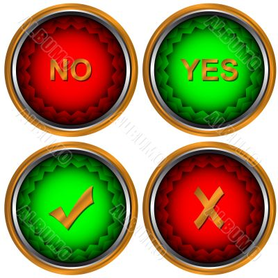 Buttons yes and no