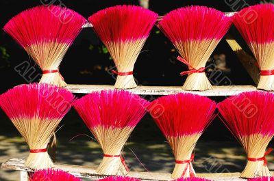 Red incense or joss sticks for buddhist prayers