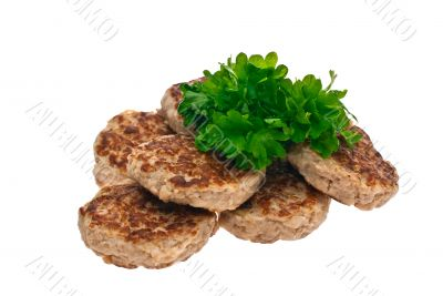 cutlets, parsley, white background, isolated