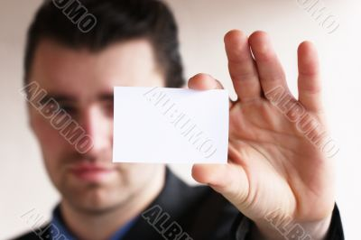 businessman show blank card