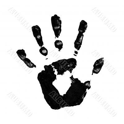 black handprint on white background
