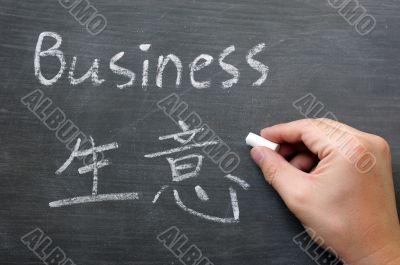 Business- word written on a smudged blackboard