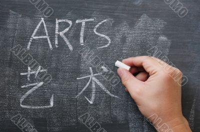 Arts - word written on a smudged blackboard