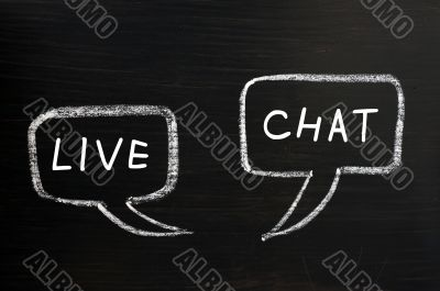 Two speech bubbles of live chat