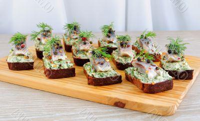 Snack rye bread and herring