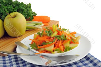 Apple and carrot salad with green onions