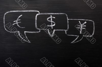 Three speech bubbles for Euro, dollar and yuan