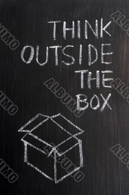 Chalk drawing - concept of `Think Outside the box`
