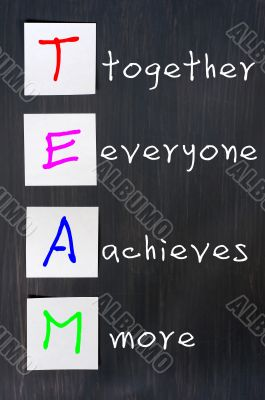 Chalk drawing of TEAM for Together Everyone Achieves More