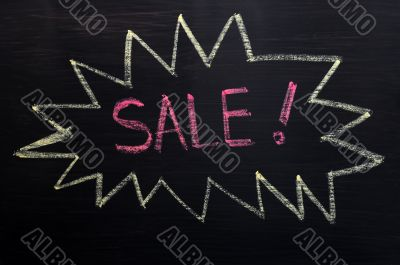 Sale - word written in a bombing bubble