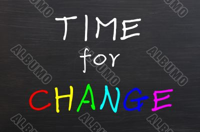 Time for change, colorful words on blackboard