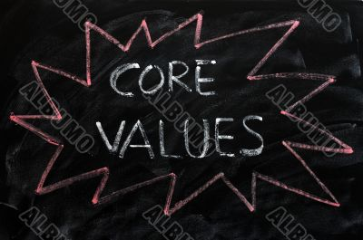 Core values written on a blackboard