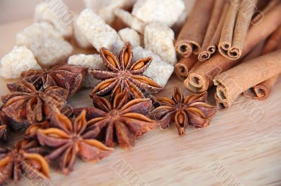 Anise, sugar and cinnamon