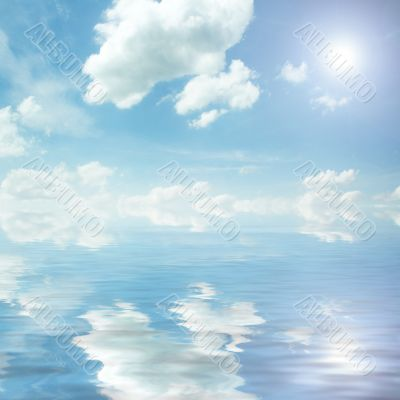 sun, blue sky, and ocean of clouds
