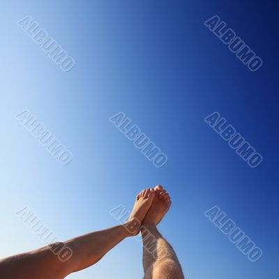 beautiful feet of man and woman in the summer