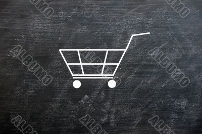 Chalk drawing of Shopping cart on a smudged blackboard