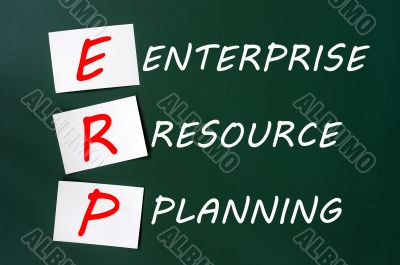 Chalk drawing of ERP acronym for Enterprise Resource Planning