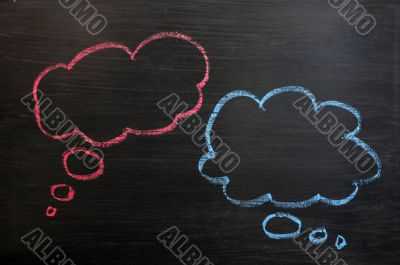 Chalk drawing of blank think bubbles on a blackboard background