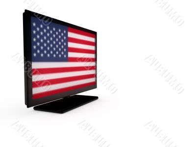 LCD TV with flag of USA