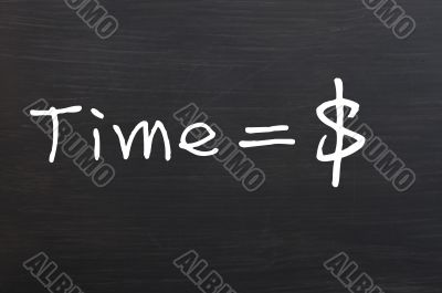 `Time is money` handwritten with white chalk on a blackboard