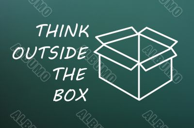 Concept of `Think Outside the box` on a green chalkboard