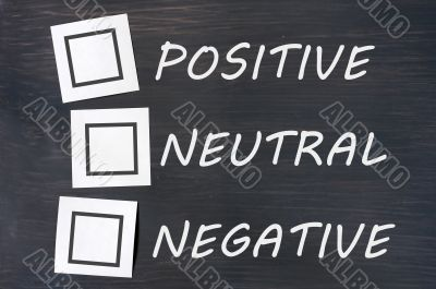 Feedback positive neutral negative on a chalkboard