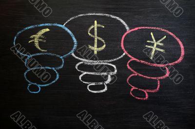 Euro, dollar and yuan symbol drawn with chalk on a blackboard