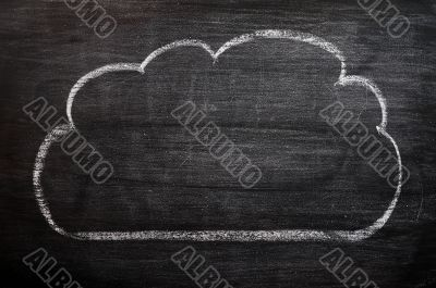 Cloud drawn on a smudged blackboard