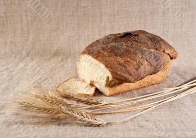Wheat bread on canvas