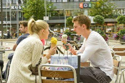 Street ice cream cafe