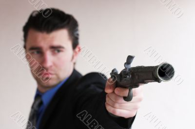 businessman wants to shoot