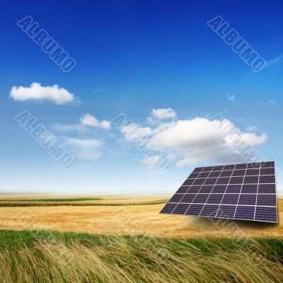 solar panel on a field