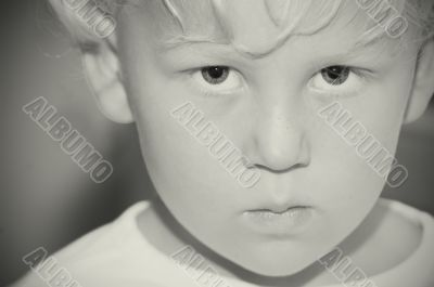 Monochrome portrait of small boy