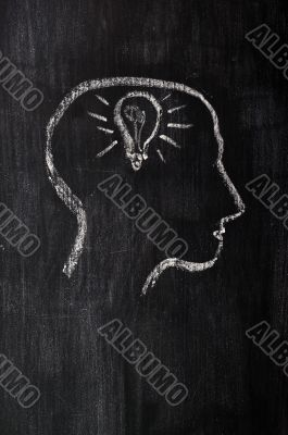 Chalk drawing of brain with innovation