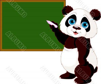 Panda writing on blackboard